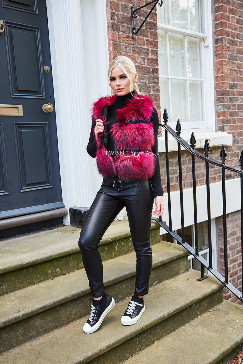 Rose Raccoon Fur Gilet