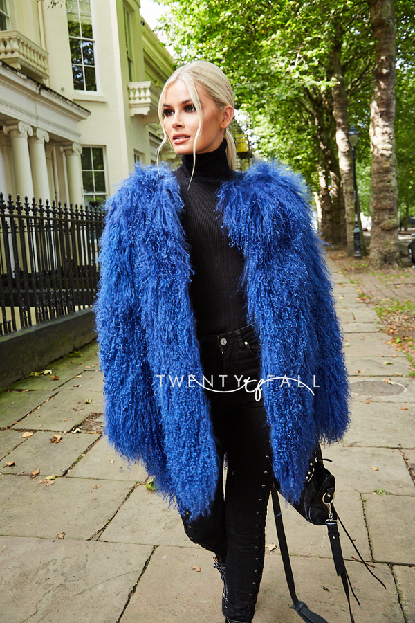 Blue Long Mongolian Fur Coat