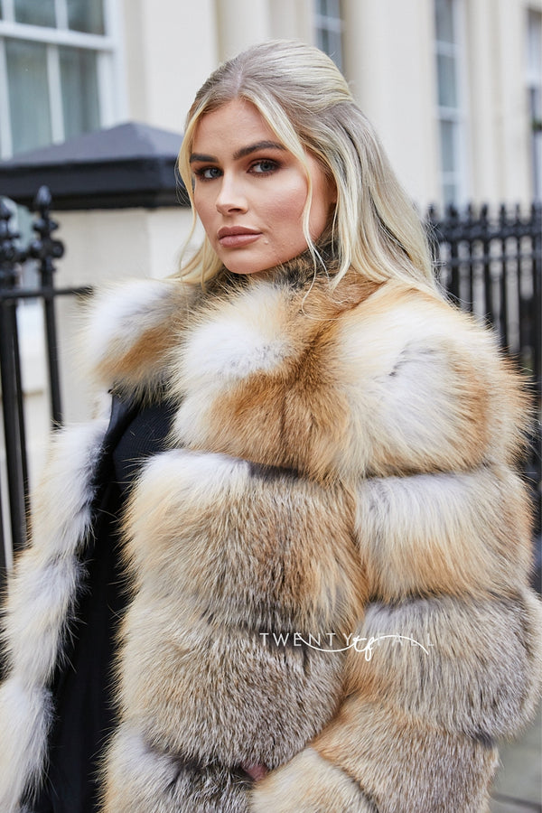 Golden Island Fox Fur Coat with Collar