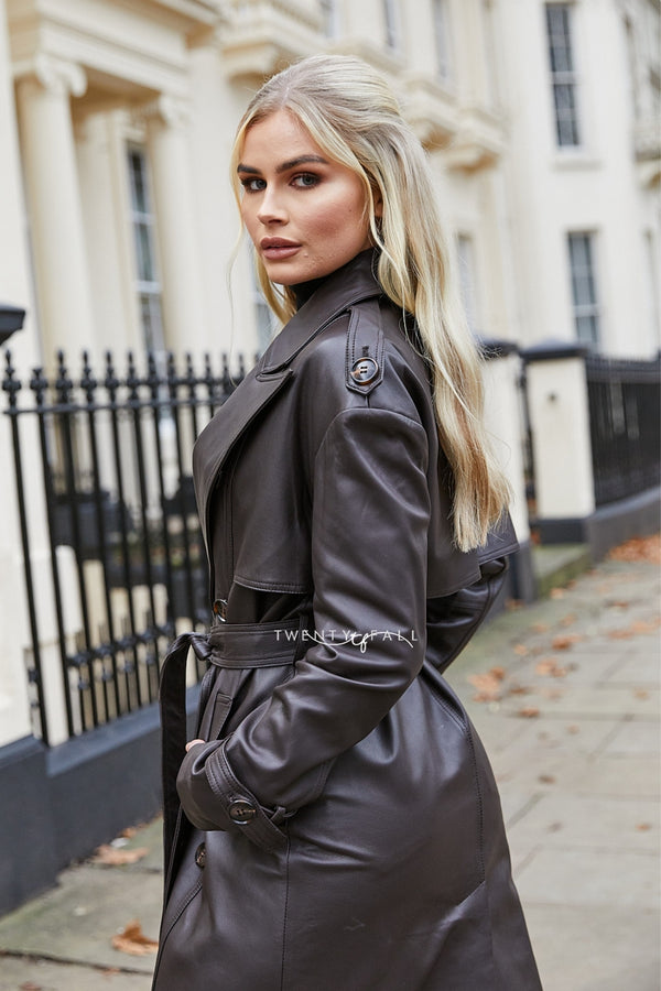 Alina Leather Trench Coat