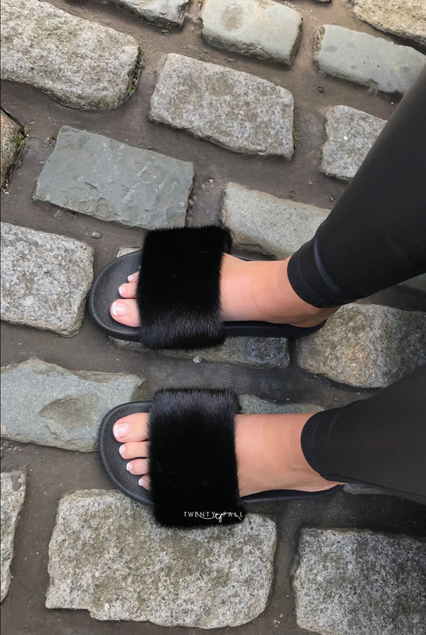Black Mink Fur Sliders