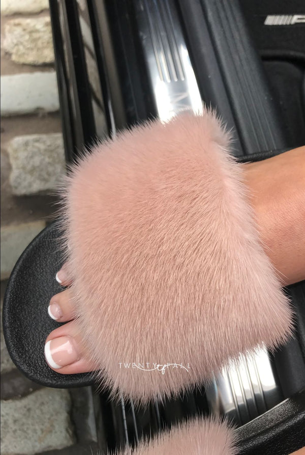 Nude Mink Fur Sliders