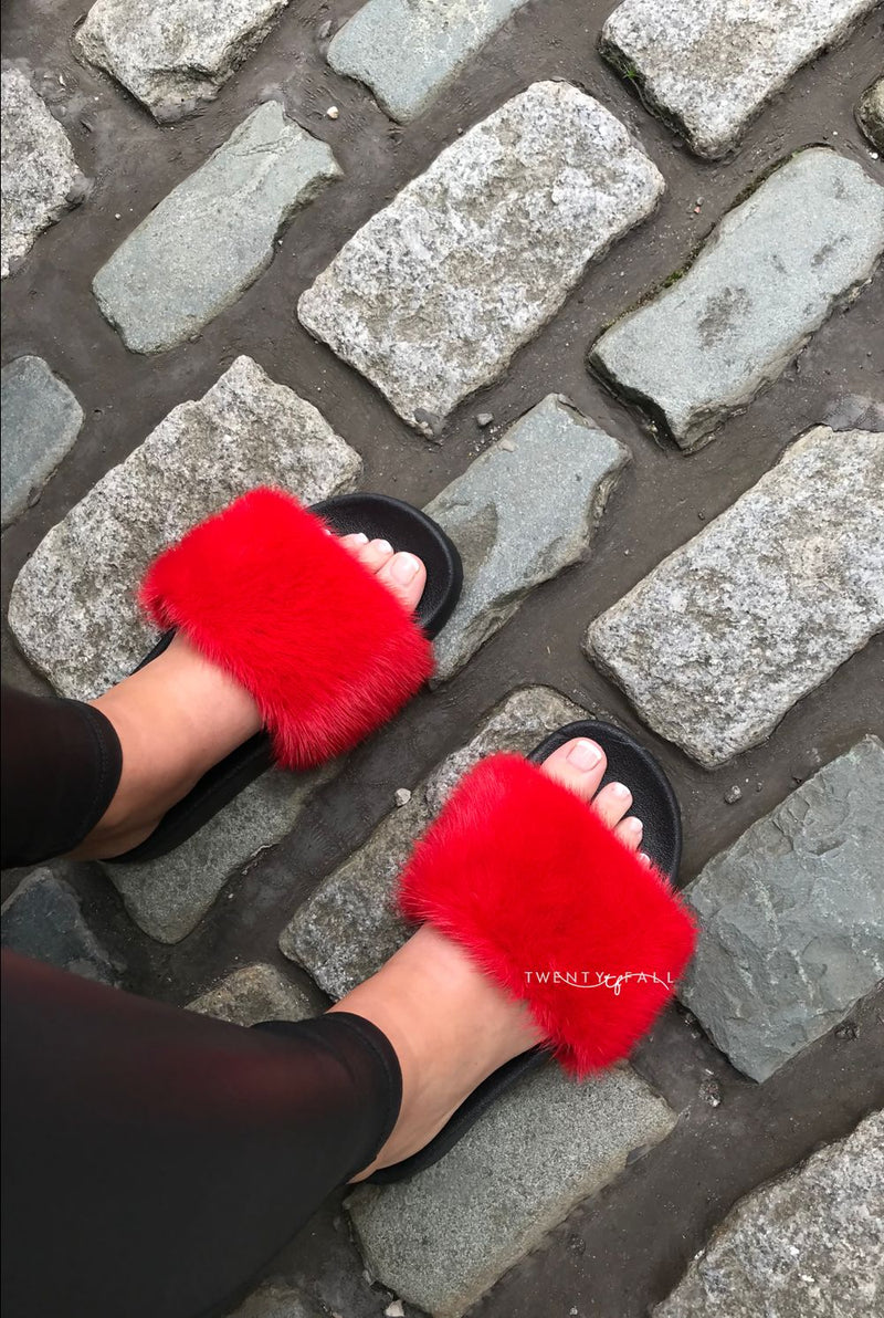 Red Mink Fur Sliders