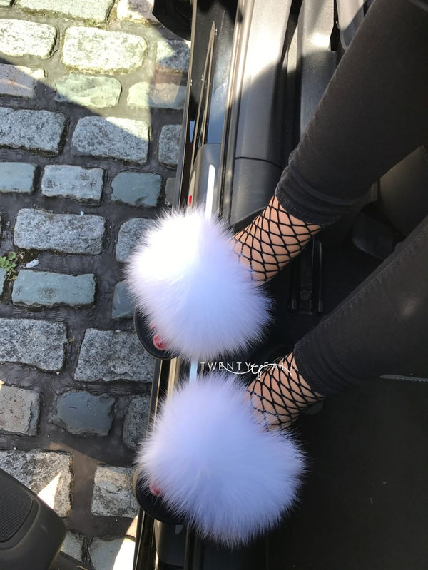 White Fox Fur Sliders