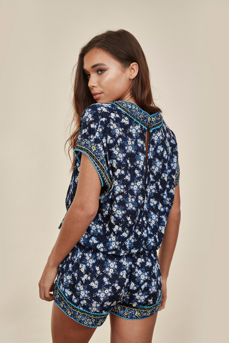Amora Blue Fressia Playsuit