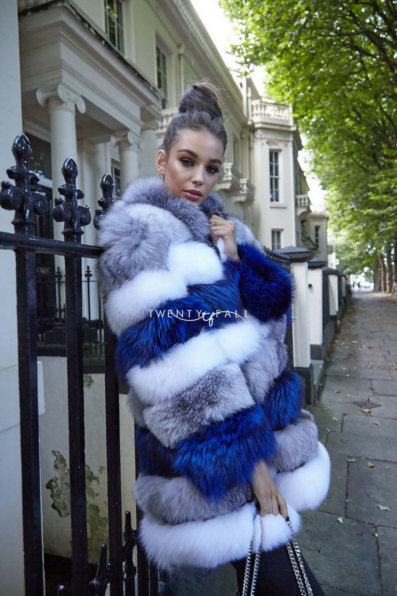 Blue & White Stripe 8 Ring Fox Fur Coat with Collar