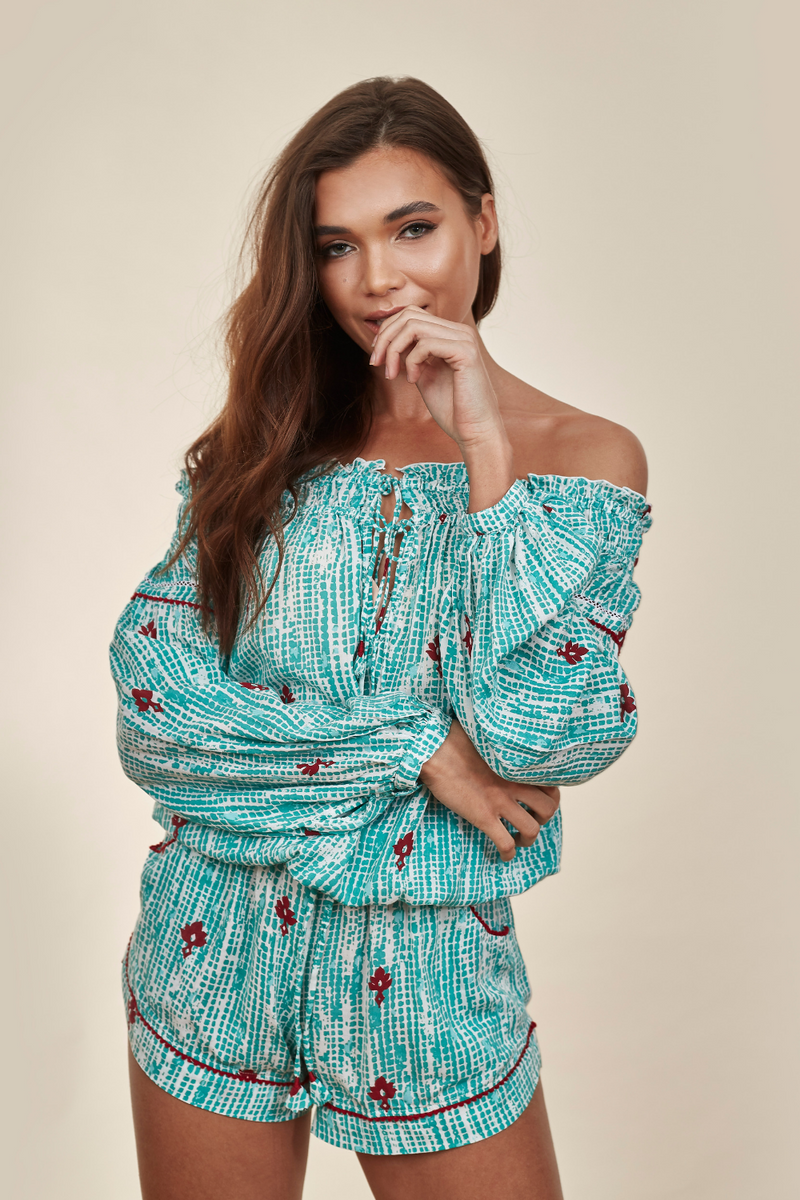 Clara Aqua Fanciful Off Shoulder Playsuit