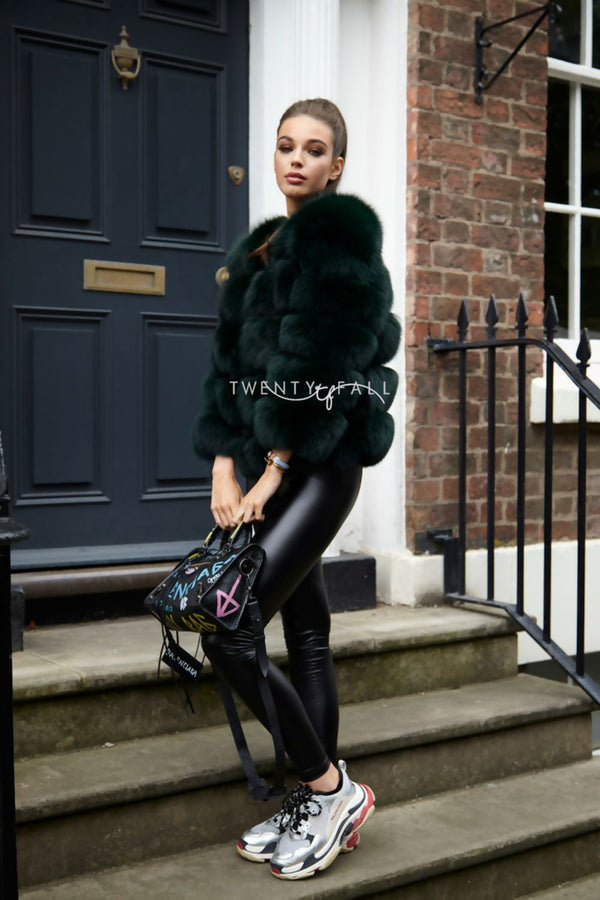 Forrest Green 5 Ring Fox Fur Coat