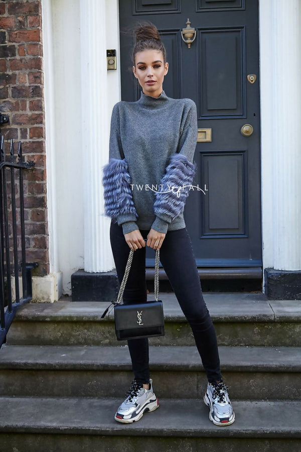 Grey Wool Polo Neck with Silver Fox Fur Sleeves