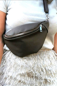 MADE IN ITALY Bauchtasche Leder taupe