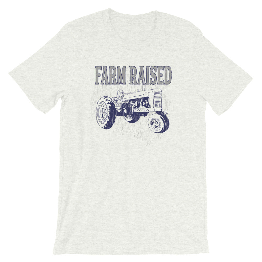 Farm Raised Tractor TShirt Vintage Look Distressed Graphic Tee