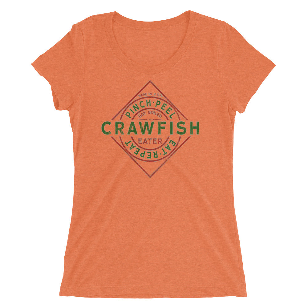 Crawfish TShirt Funny Parody Label Crawfish Pinch Peel Eat Repeat Vintage Look Women's Tee