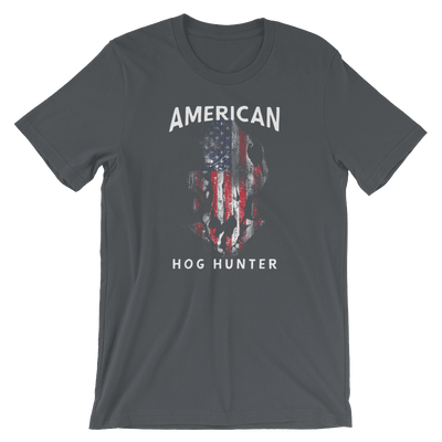 Hog Hunting T Shirts - American Hog Hunter Tee In Asphalt