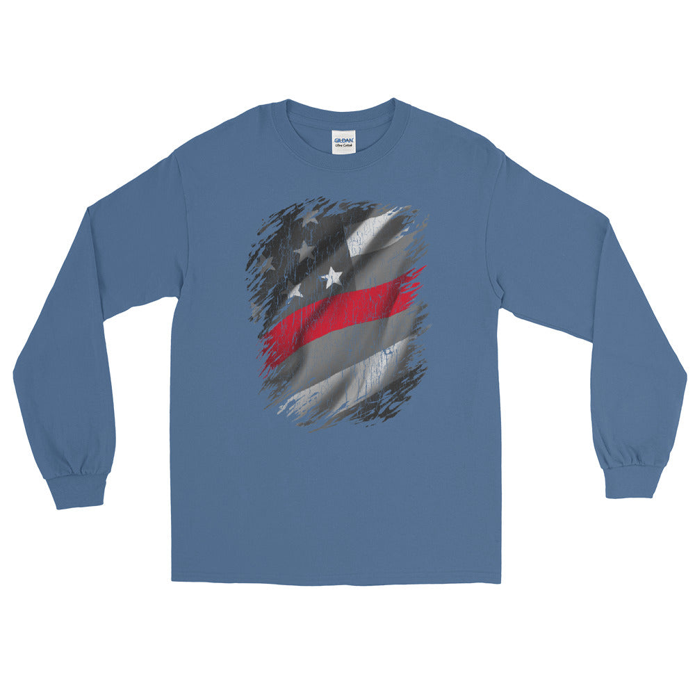 Thin Red Line | Firefighter | Red Line American Flag Long Sleeve Tee