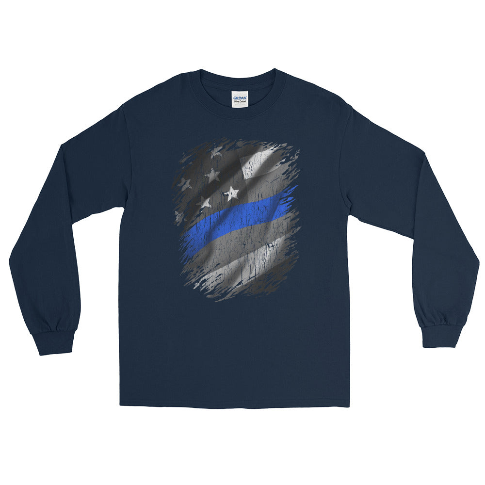 Thin Blue Line | American Flag Blue Line Long Sleeve Tee | Support Police - Law Enforcement Tee