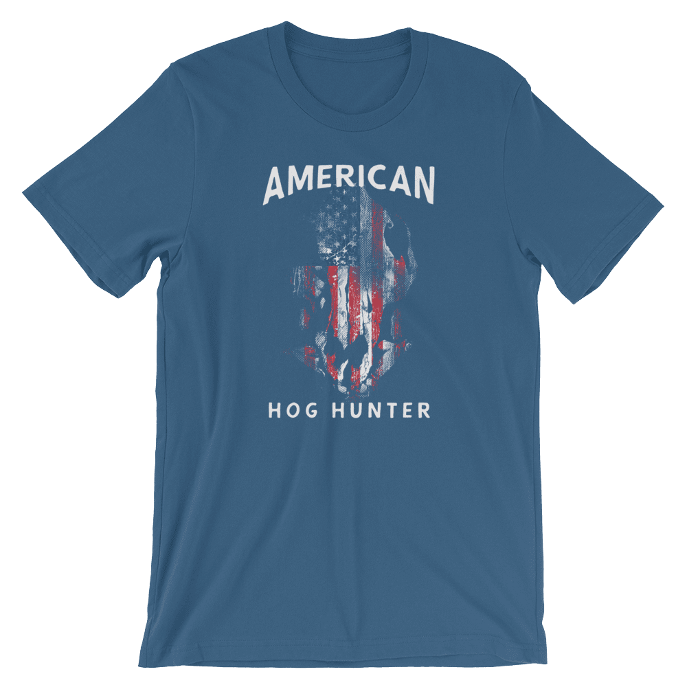 Hog Hunting T Shirts - American Hog Hunter Tee In Teal