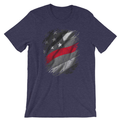 Thin Red Line American Flag T-Shirt Support Firefighters Unisex Tee