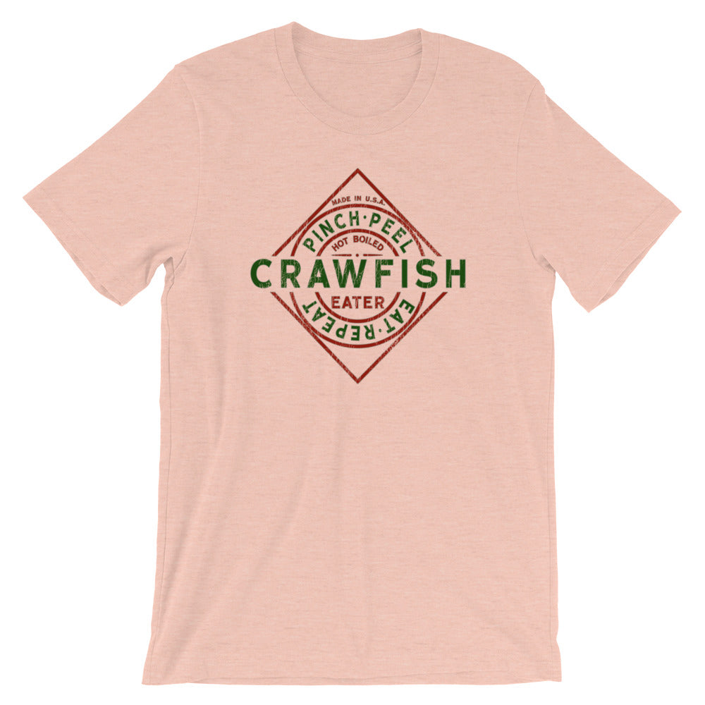 Crawfish TShirt Funny Parody Label Crawfish Pinch Peel Eat Repeat Vintage Look Unisex Tee
