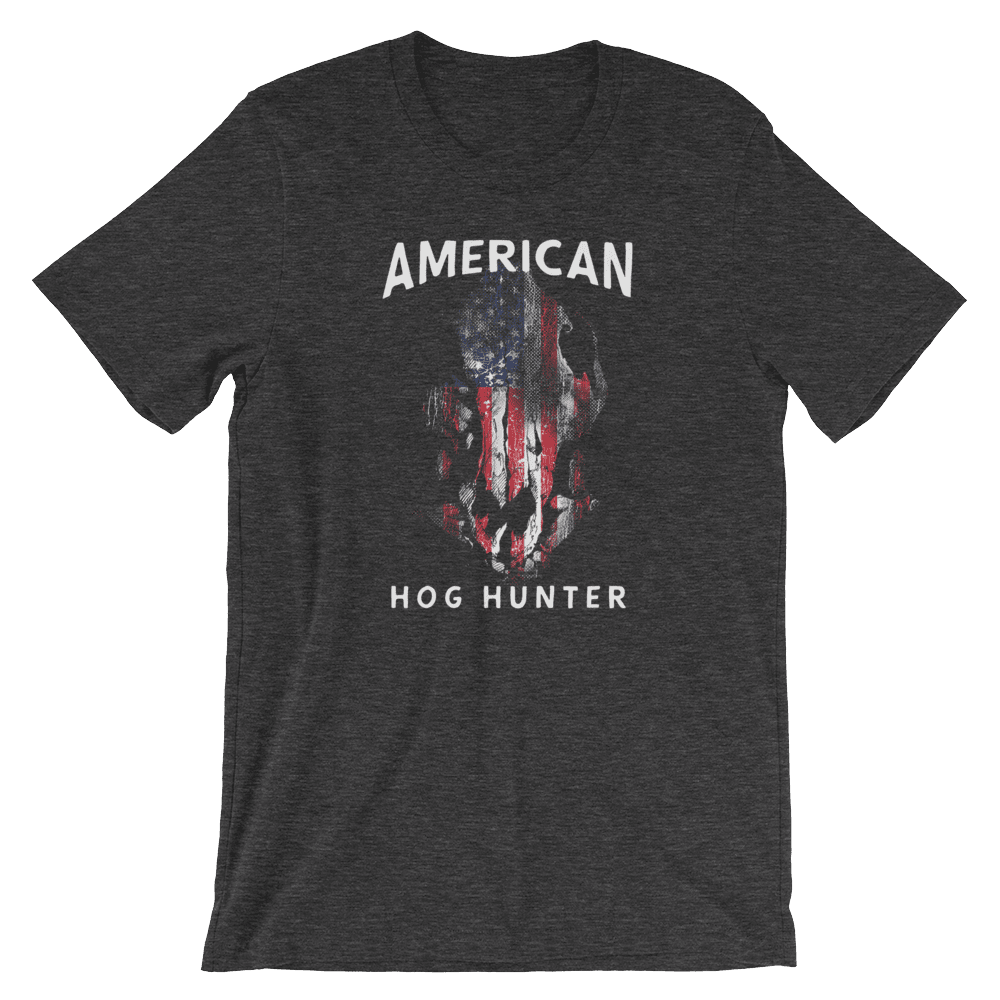 Hog Hunting T Shirts - American Hog Hunter Tee In Dark Heather