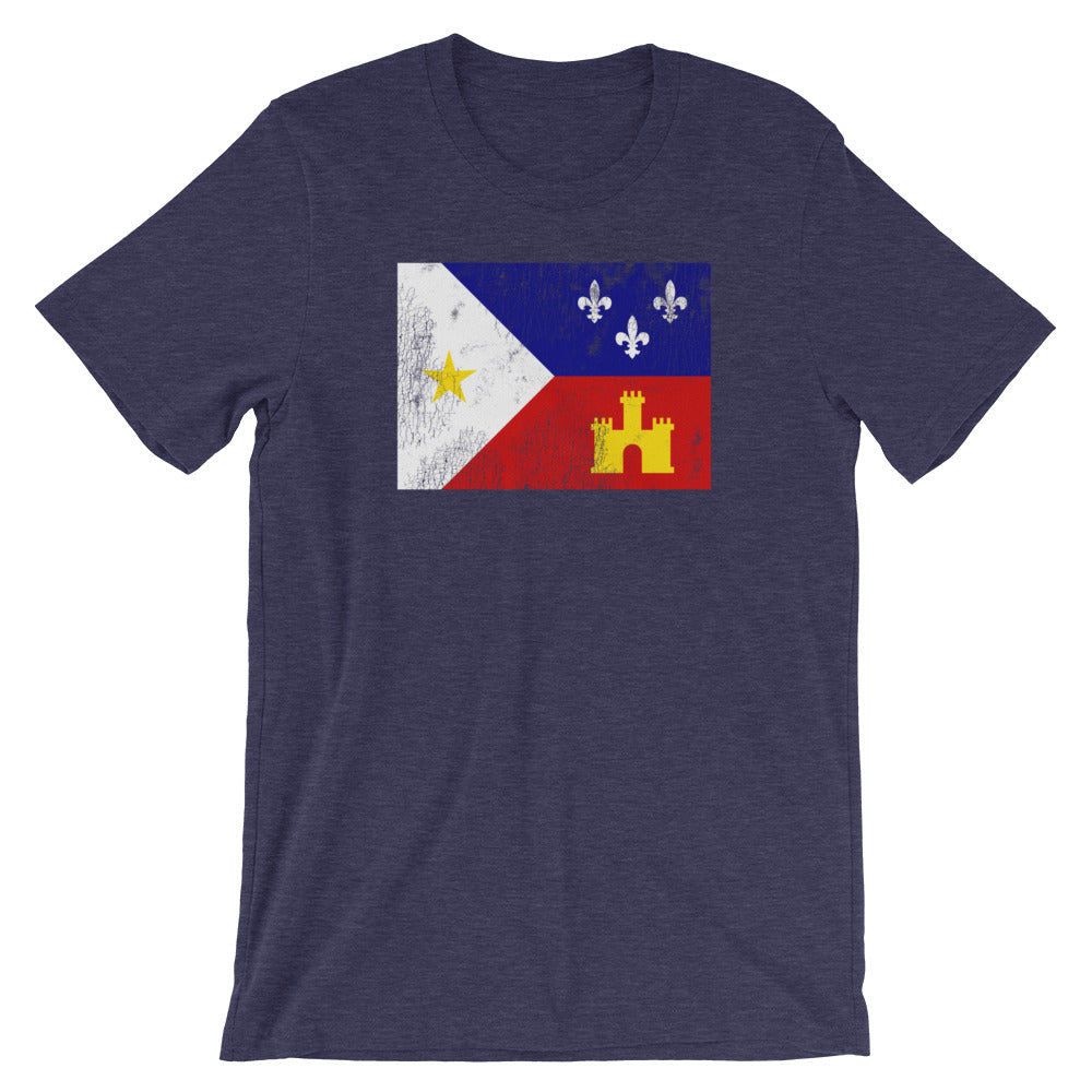 Acadiana Flag Louisiana TShirt - Heather Navy
