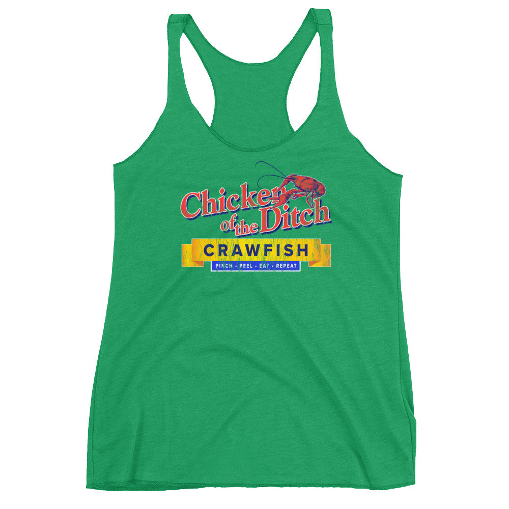 Chicken of the Ditch Crawfish Women's Racerback Tank Top