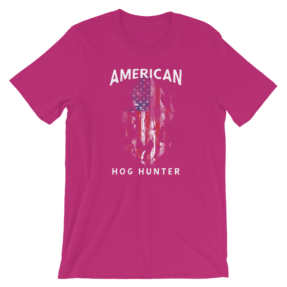 Hog Hunting T Shirts - American Hog Hunter Tee In Pink