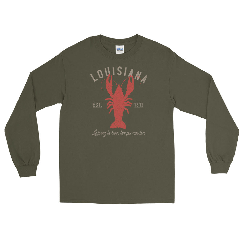 Louisiana Long Sleeve T-Shirt | Laissez le bon temps roulier Est 1812 Vintage Graphic Tee