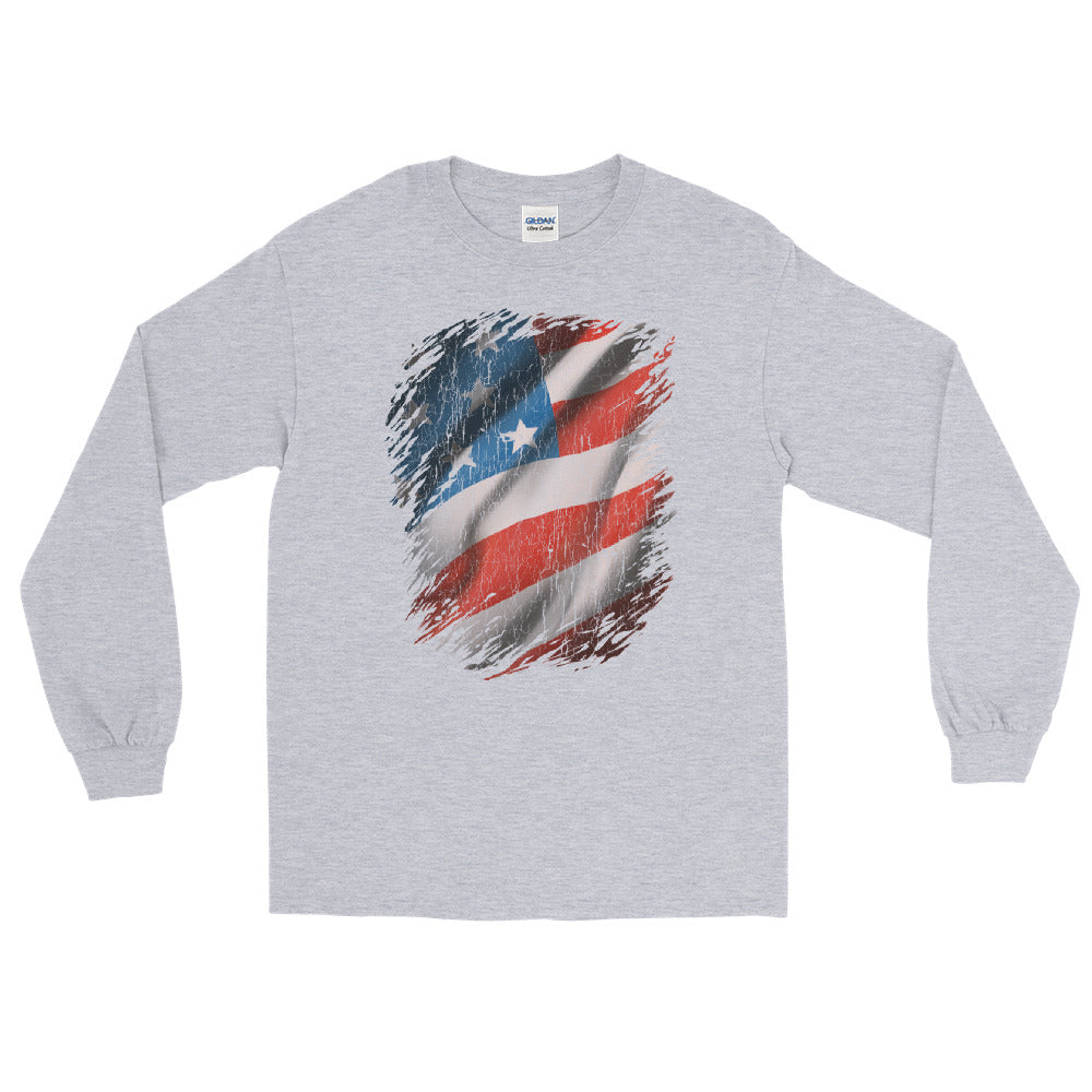 American Flag Break Through Vintage Look Design Long Sleeve T-Shirt