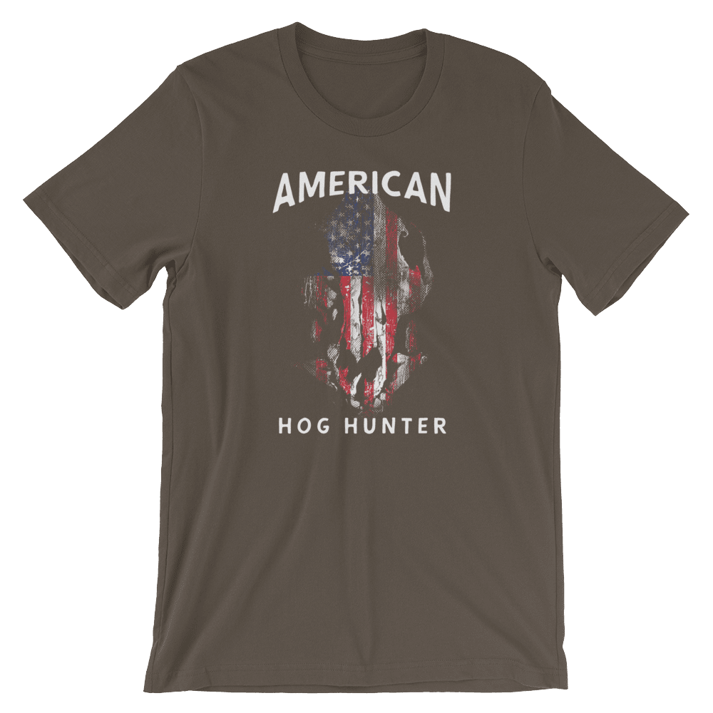 Hog Hunting T Shirts - American Hog Hunter Tee In Army