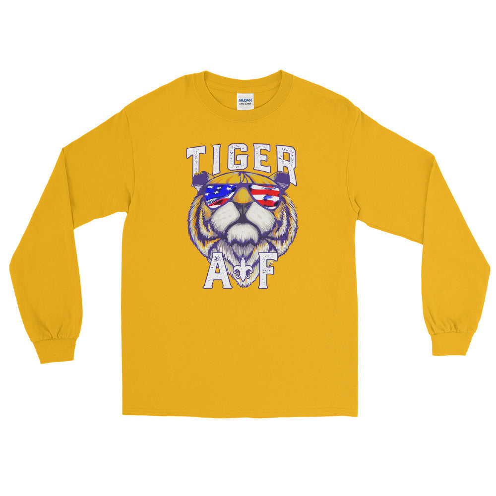 Tiger AF | Cool Tiger in Shades | American Flag | Louisiana Long Sleeve TShirt