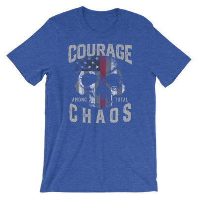 Firefighter T Shirt, Courage Among Total Chaos Thin Red Line T-Shirt