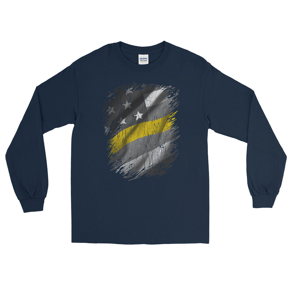 911 Dispatcher Thin Gold Line Long Sleeve TShirt - Navy