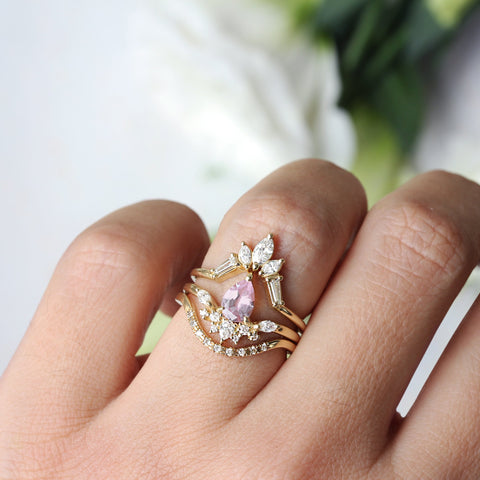PEAR BLUSH PALE LIGHT PINK SAPPHIRE BEE RING, SIZE 6.5, 14K YELLOW GOLD - READY TO SHIP