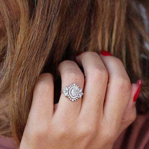 1.45CT OVAL DIAMOND WITH DOUBLE HALO ENGAGEMENT RING, MONACO