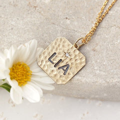 PERSONALIZED NAME SQUARE CHARM ONE DIAMOND NECKLACE