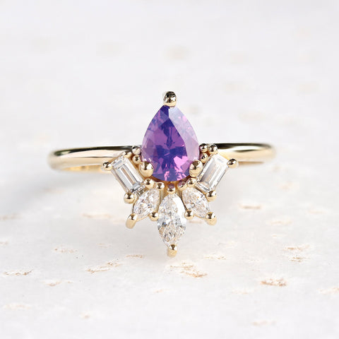 PURPLE PEAR SAPPHIRE & DIAMONDS ENGAGEMENT RING, GATSBY - 14K YELLOW GOLD RING, SIZE 6.5 ,READY TO SHIP