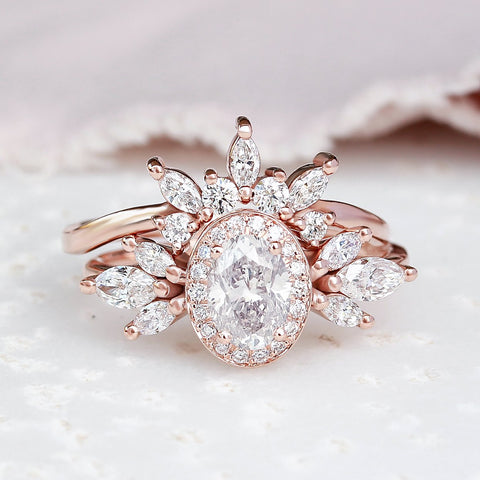 OVAL DIAMOND 1.40CT UNIQUE ENGAGEMENT TWO RINGS SET, ATHENA & HER CROWN