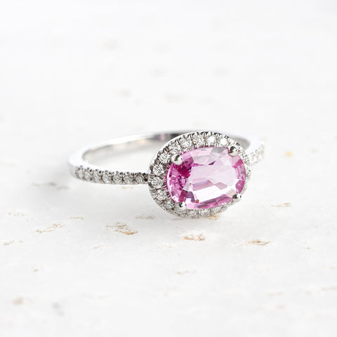 OVAL PINK SAPPHIRE & DIAMOND HALO, IVY ENGAGEMENT RING
