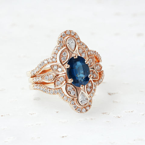BLUE SAPPHIRE & DIAMOND FLOWER UNIQUE ENGAGEMENT RING SET WITH RING GUARD ICED LILY #4