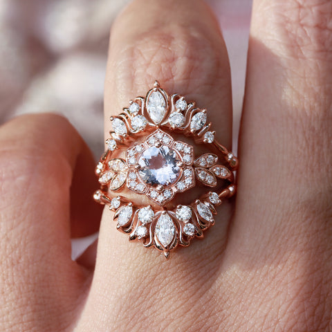 Lily Flower morganite and diamonds engagement ring paired with two illuminati flames diamond nesting rings