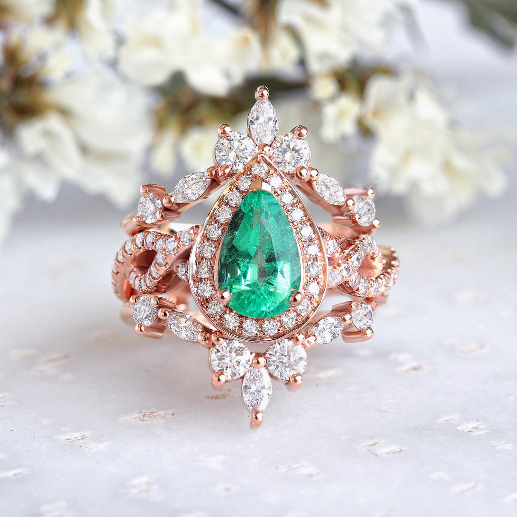 Pear Emerald Halo Twist Shank Unique Engagement & two Hermès Wedding Rings Guard Enhancer - Iceland - sillyshinydiamonds