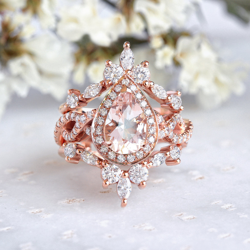 Pear Morganite Twist Shank Unique Engagement & two Hermès Wedding Rings Guard Enhancer, Iceland - sillyshinydiamonds