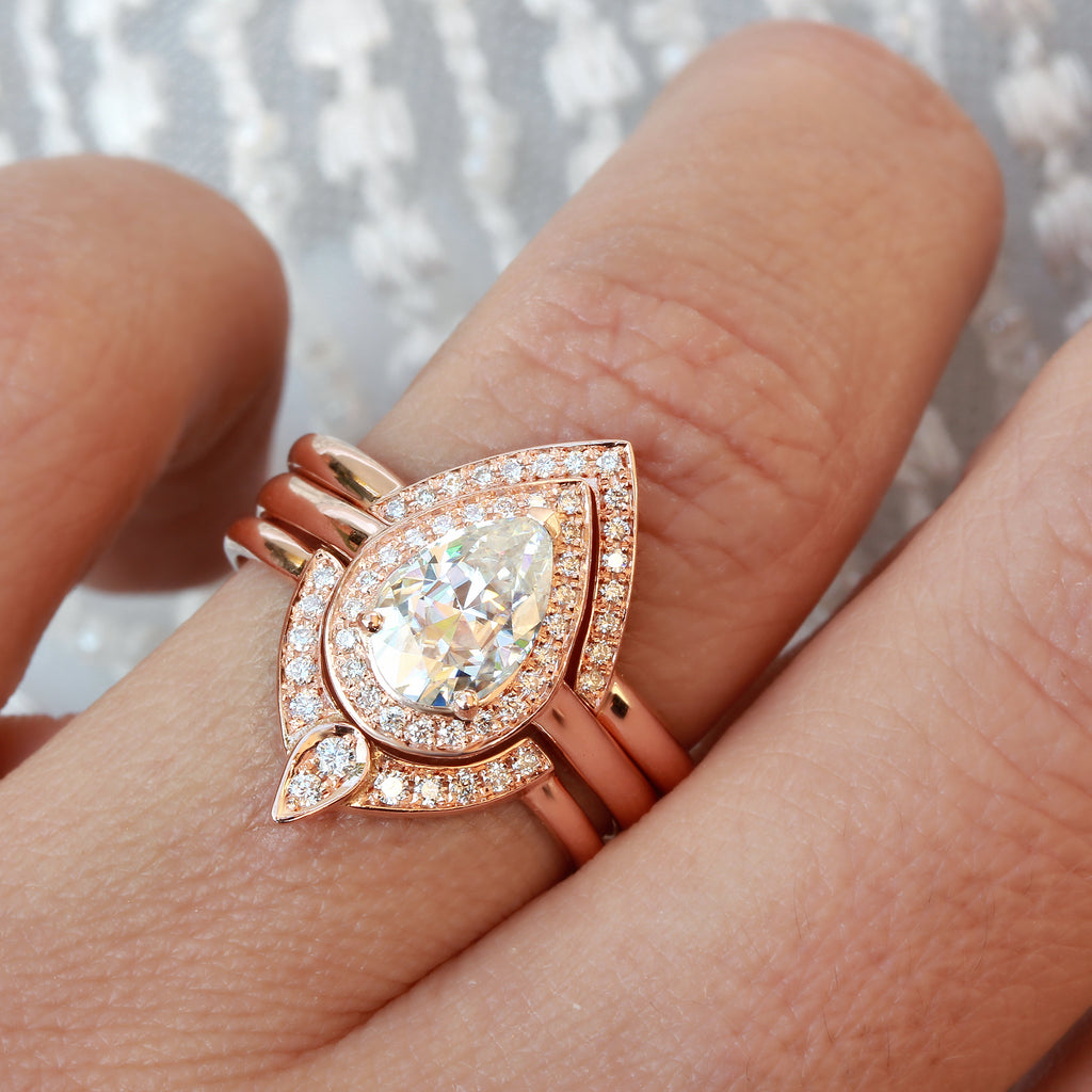 the 3rd eye, unique engagement ring set, three bridal ring set, rose gold, pear moissanite, diamond halo, silly shiny diamonds