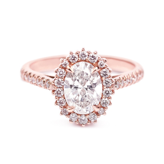 Oval Moissanite with Halo Engagement ring, Diana