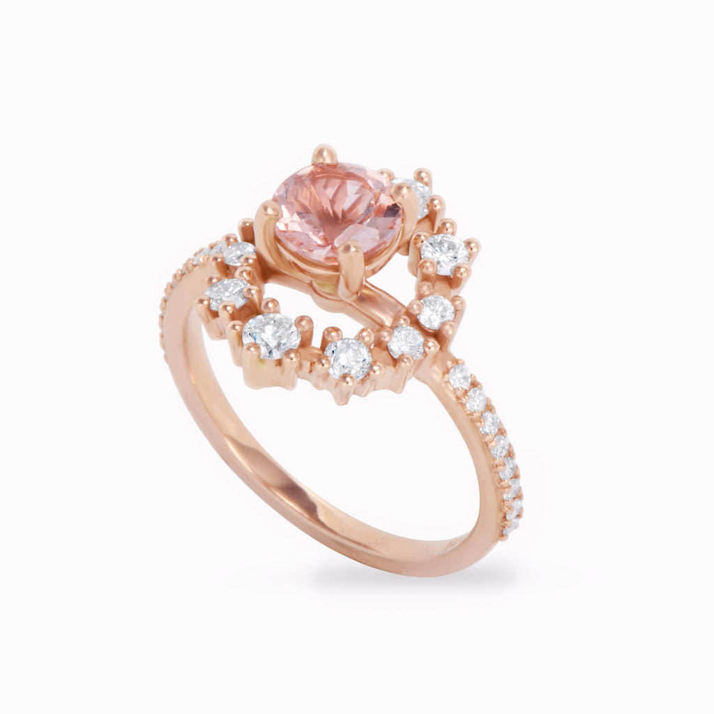 Morganite & Diamond Halo Unique Engagement Ring - Glory, Ready to ship, 14K rise gold, Size 6.5