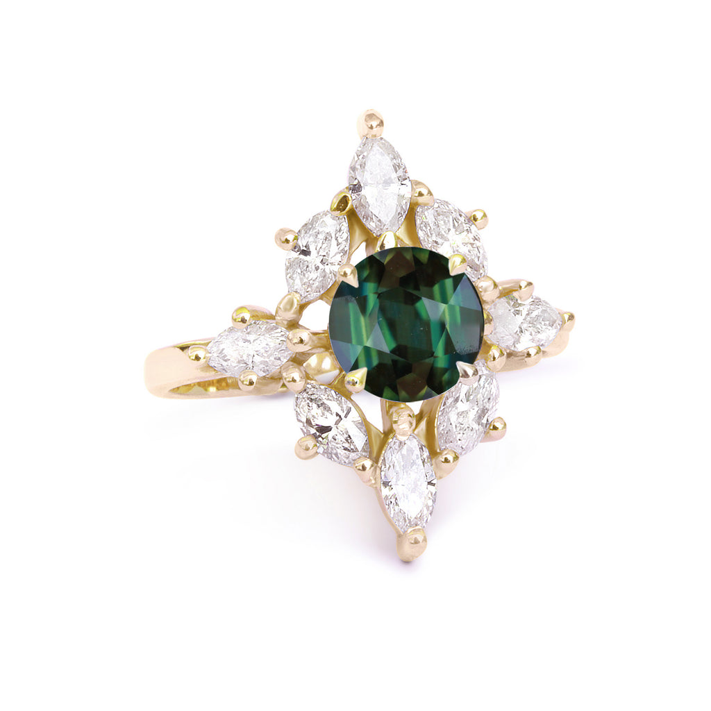 Private Listing for Dave - Aerolite with green sapphire size 4.25, 14K yellow gold - sillyshinydiamonds