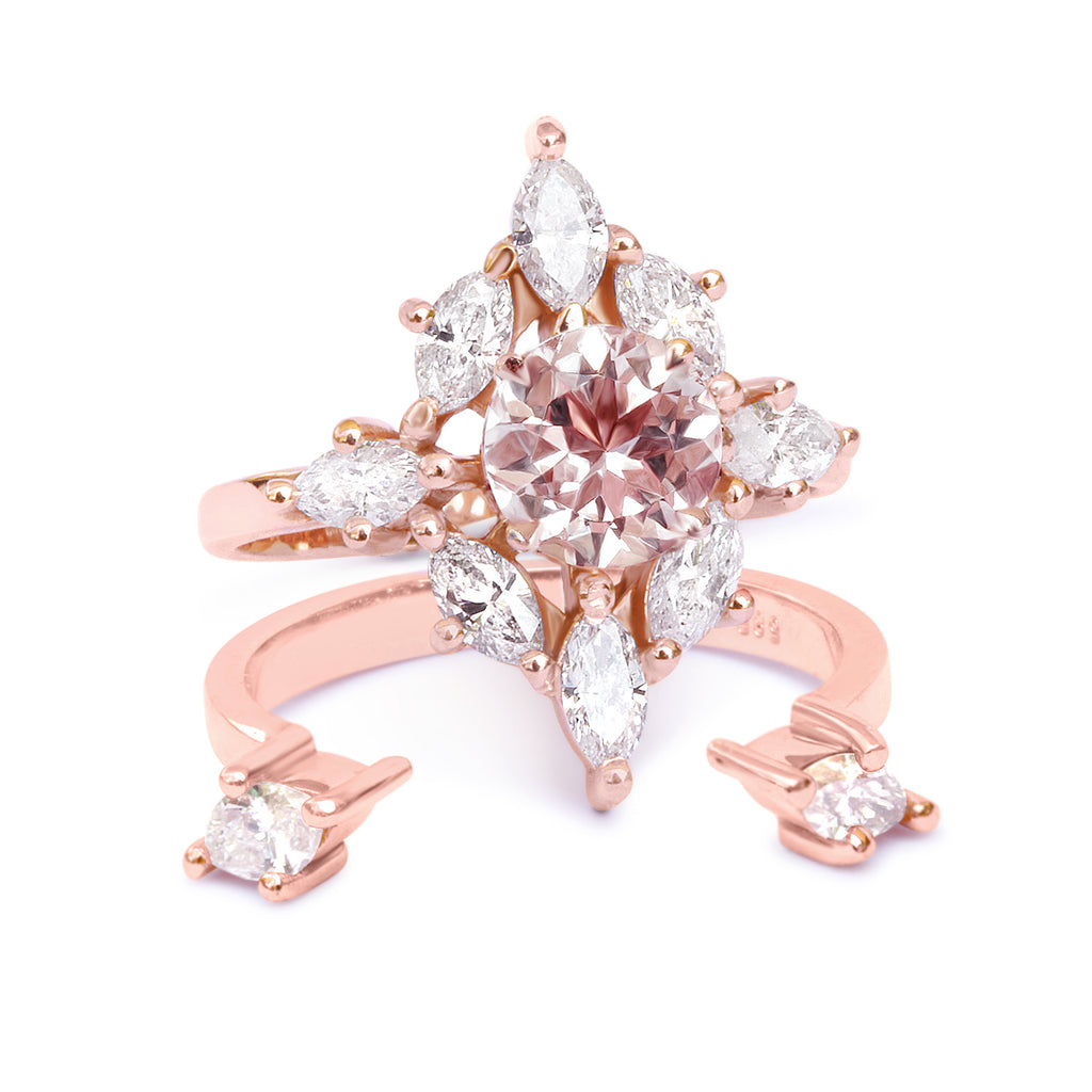 Aerolite Morganite & Diamonds Unique Engagement Ring SET - sillyshinydiamonds