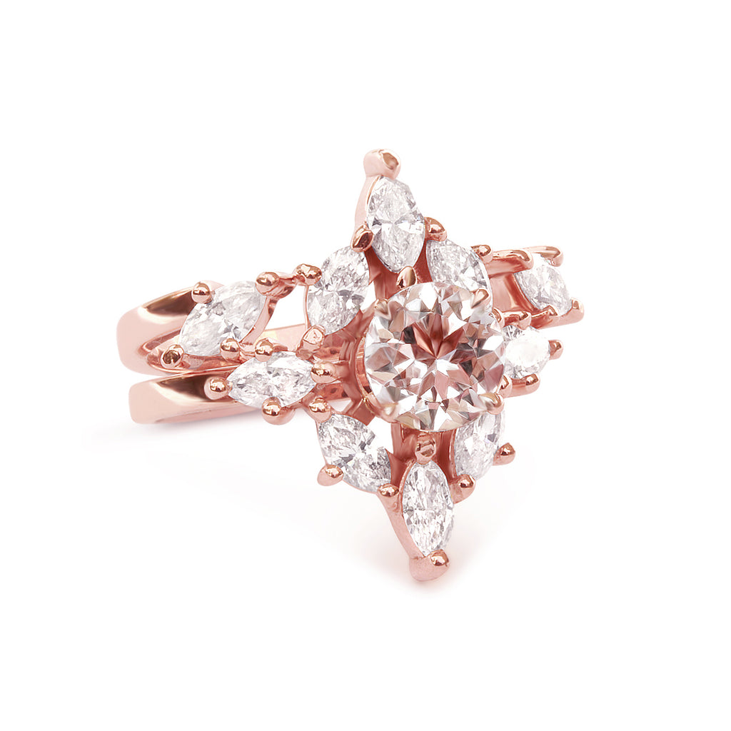 Aerolite Morganite & Diamonds Unique Engagement Ring SET