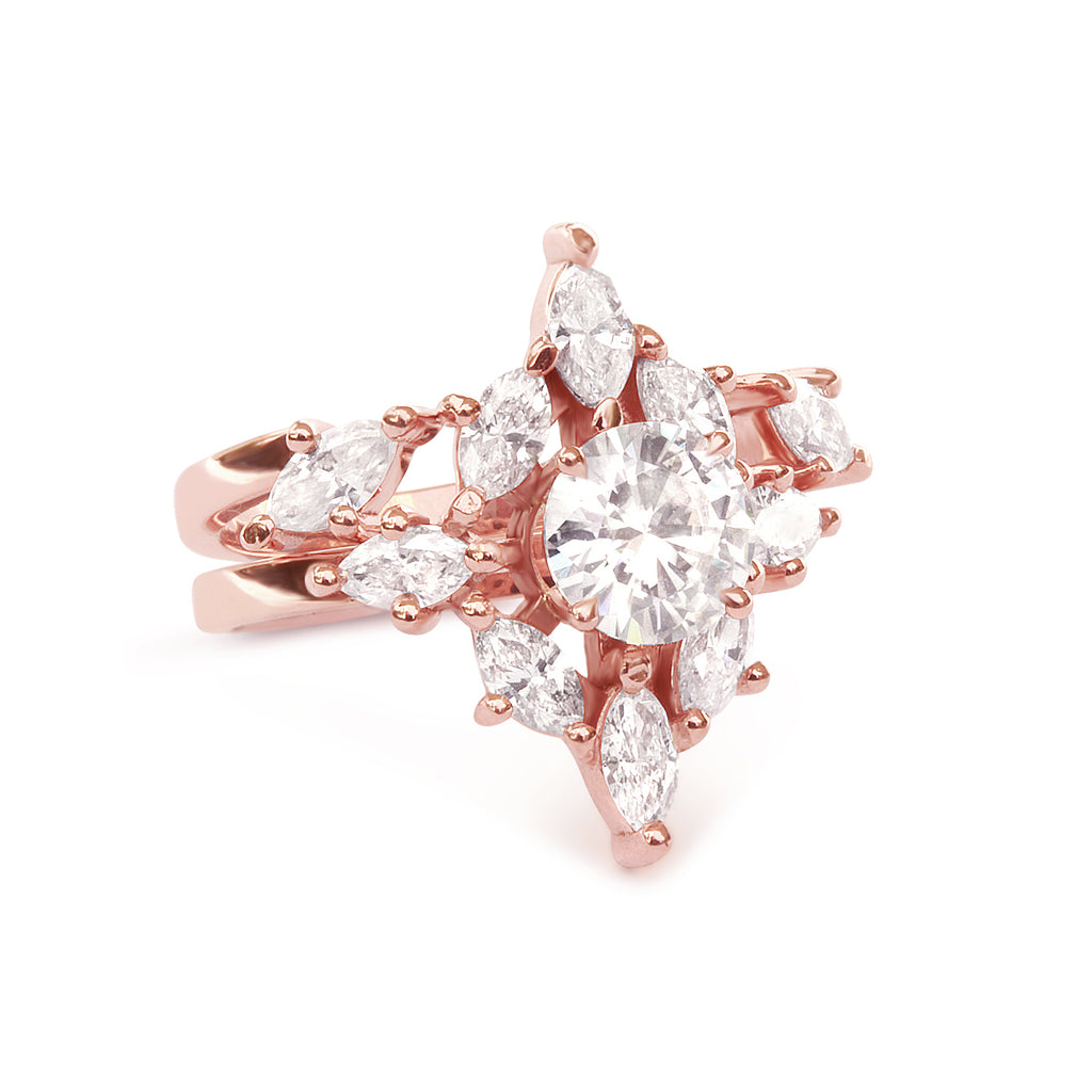 Aerolite Moissanite & Diamonds Unique Engagement Ring SET - sillyshinydiamonds