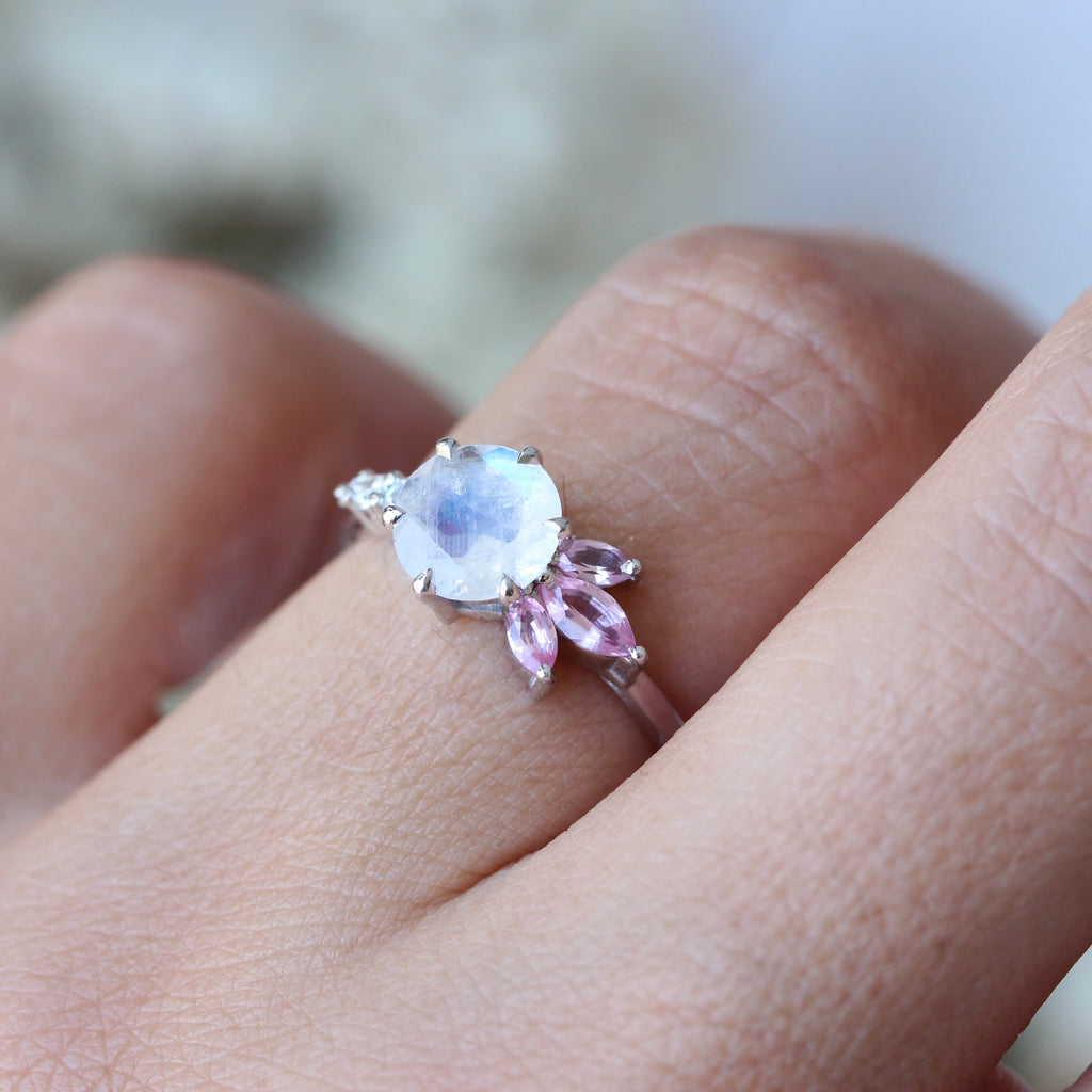 Unique Moonstone Spinel & Diamonds Ring, Aime, 14K White Gold, Size 6.5 - sillyshinydiamonds
